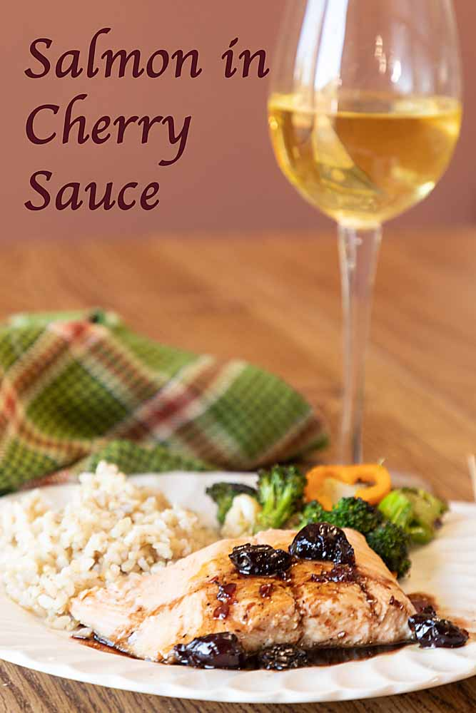 Salmon ini cherry wine sauce, with savory overtones of bay, fennel and thyme is an easy way to turn healthy salmon into a special dish.