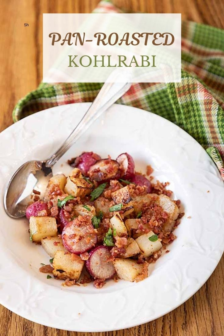 Caramelized and mellow, with a hint of smokey bacon, Pan Roasted Kohlrabi and Radishes is quick, easy, and won't heat up the kitchen!