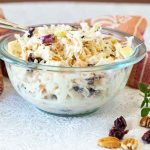 With a sweet tart creaminess, this Apple Cranberry Coleslaw is a delicious side dish to take you into fall.