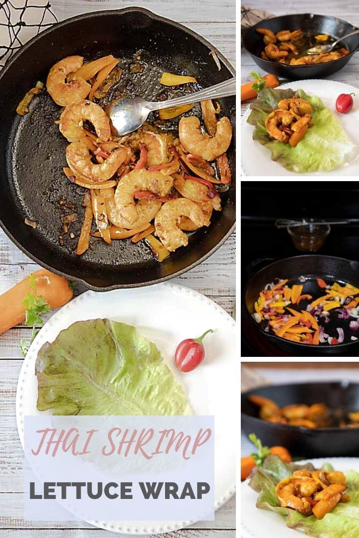 Flavored with curry, soy sauce, peppers and sesame oil, this Thai Shrimp Lettuce Wrap gives you an option that is lower carb and lower calorie.