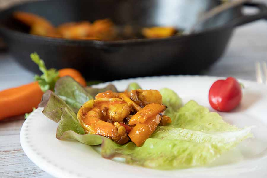 Flavored with curry, soy sauce, peppers and sesame oil, this Thai Shrimp Lettuce Wrap gives you a wrap that is lower carb and lower calorie.