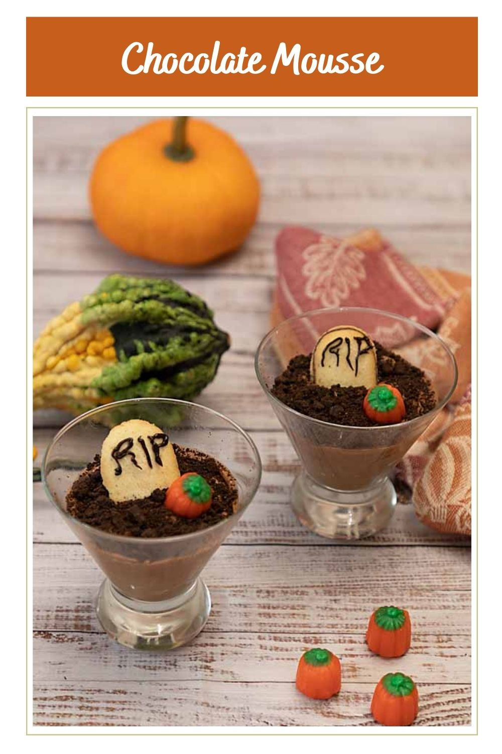 Graveyard Chocolate Mousse is creamy chocolate mousse dressed up for Halloween, complete with cookie gravestones.