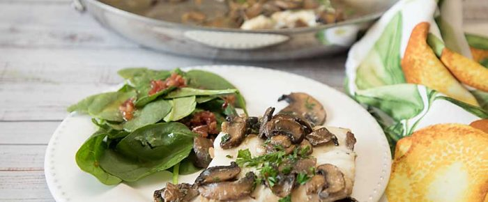Whitefish with Mushrooms and Vermouth
