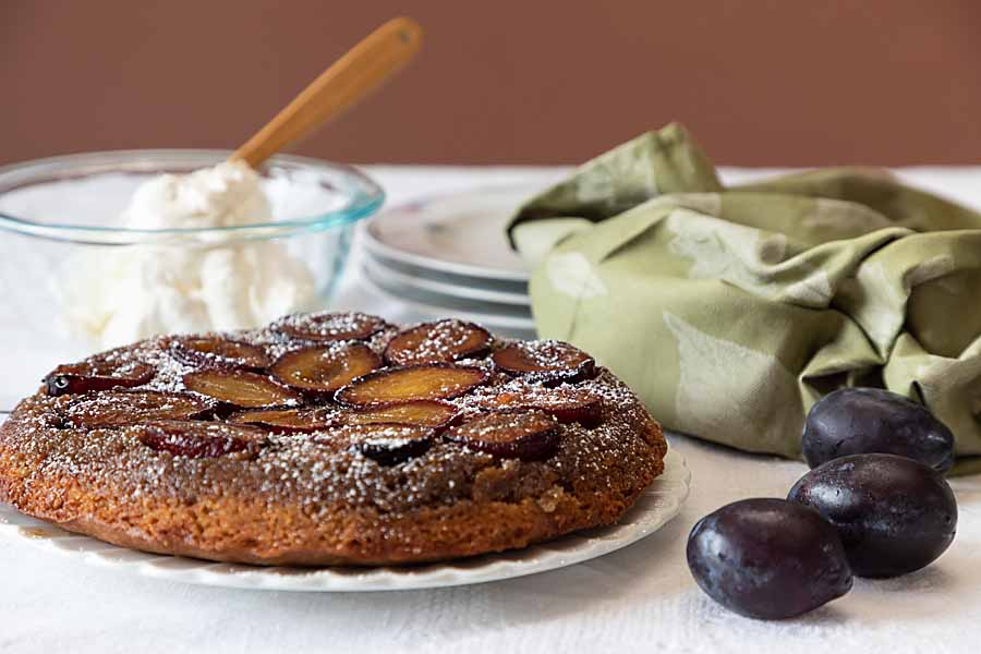 Caramelized and slightly crusty, this plum upside-down cake celebrates fall perfectly at breakfast or dessert.