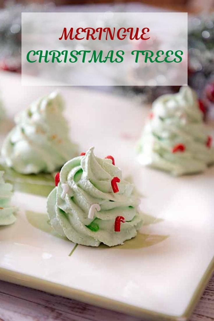 Light, airy and cute, these Meringue Christmas Trees will round out your holiday cookie tray. Easy to make and low cal too!