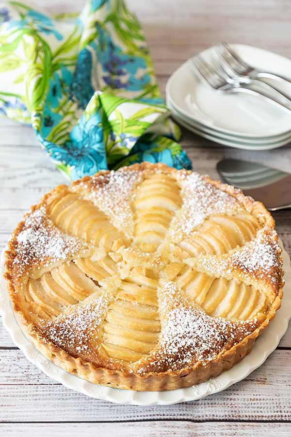 With flavorful pears set into sweet almond custard, Pear Frangipane Tart is a lovely dessert after dinner or beautiful at breakfast or brunch.