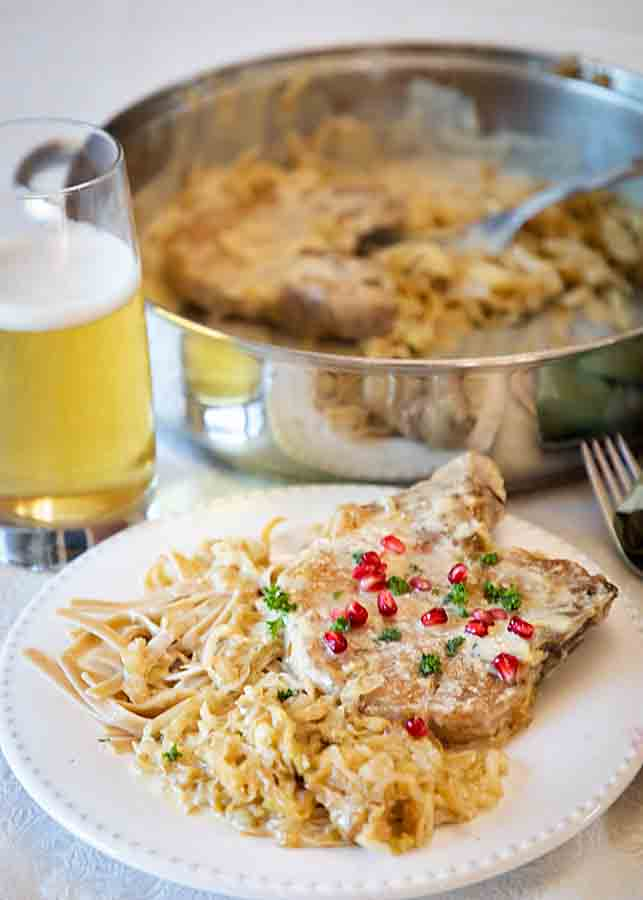 Comforting & rich flavor this German Pork with Cabbage in Cream Sauce is a perfect winter entree--plus veggie! One pan even!