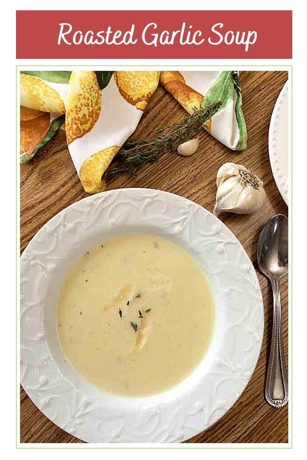 Rich and flavorful, Creamy Roasted Garlic Soup is a garlic lover's dream. Perfect as a starter, or add bread and salad for a tasty lunch.