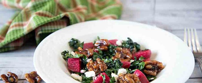 Kale Feta Salad with Candied Walnuts, Beets Optional