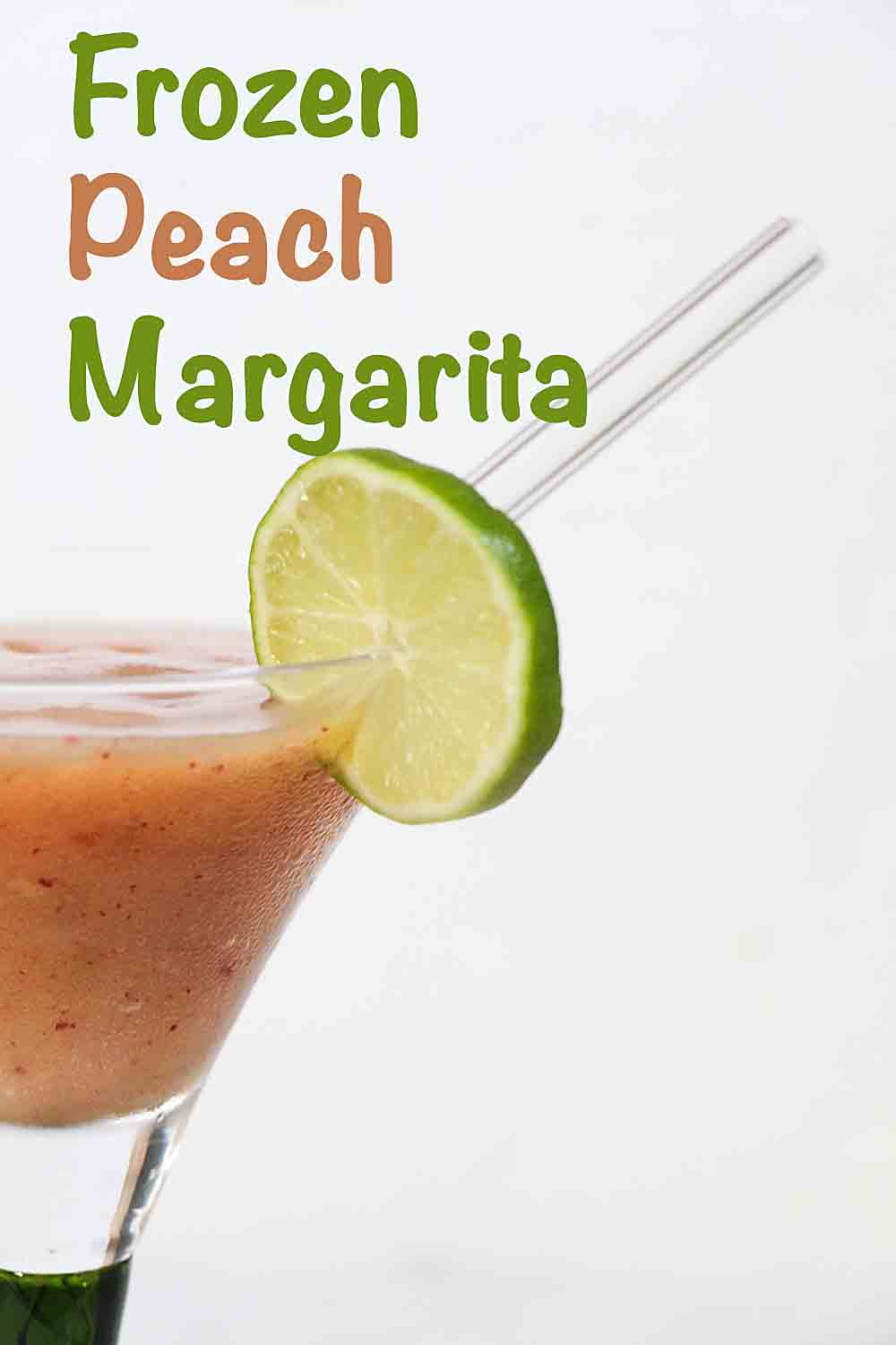 Frozen Peach Margaritas are a great twist on the classic cocktail. The sweet taste of peaches is perfect any season. Alcohol free option too.