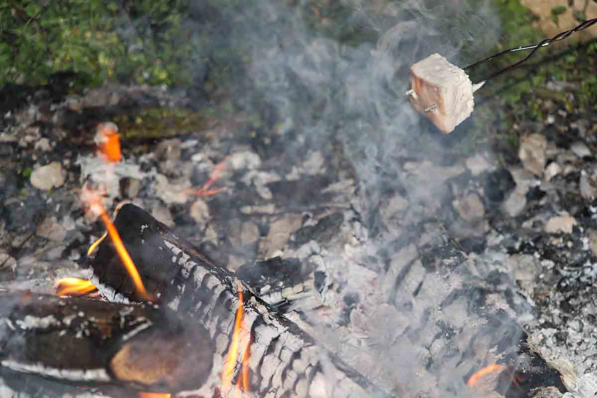 Roasting homemade marshmallow