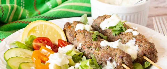 Kefta Salad with Tzatziki Dressing