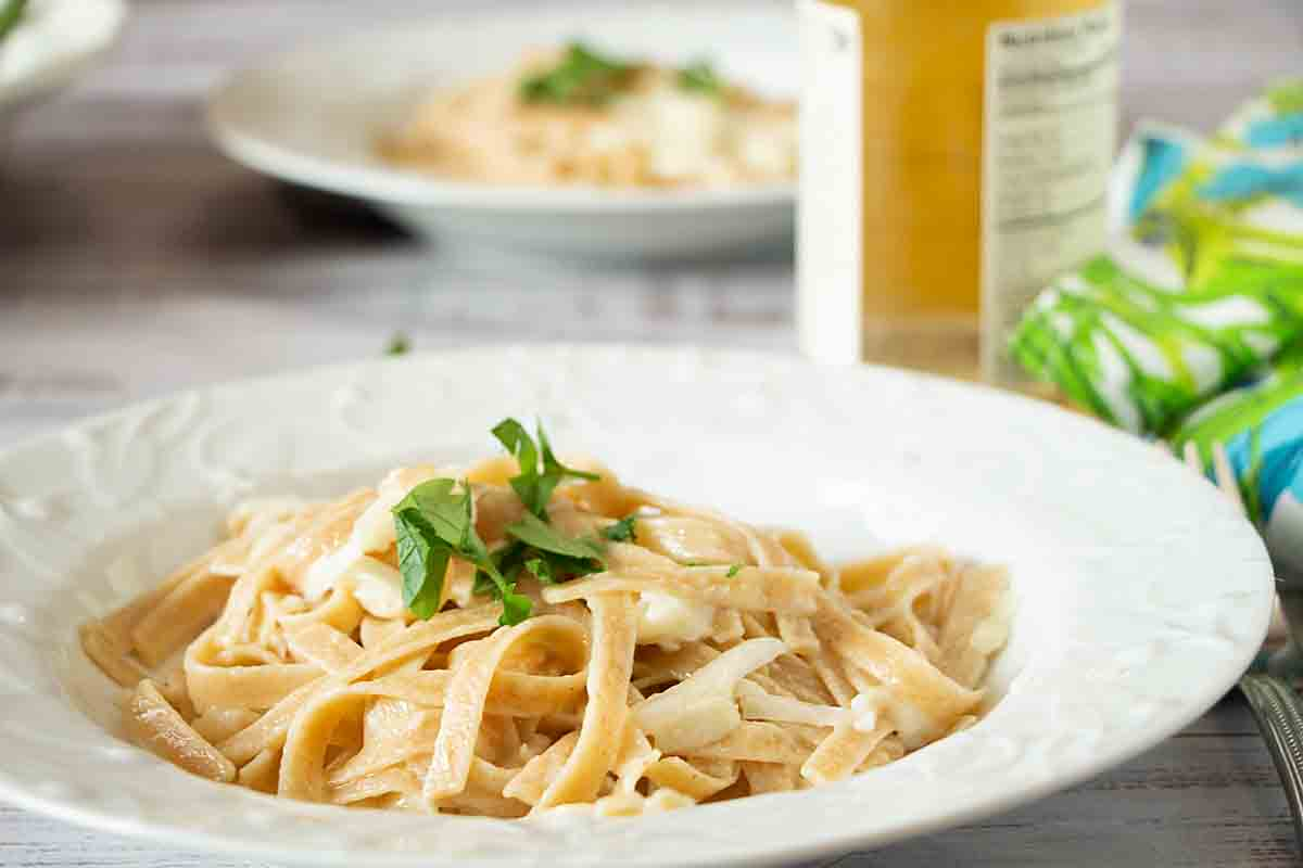 Cheesy Pasta w/ Shredded Kohlrabi is quick, tasty & nutritious. Did you know shredded kohlrabi looks almost exactly like cheese (shh)!