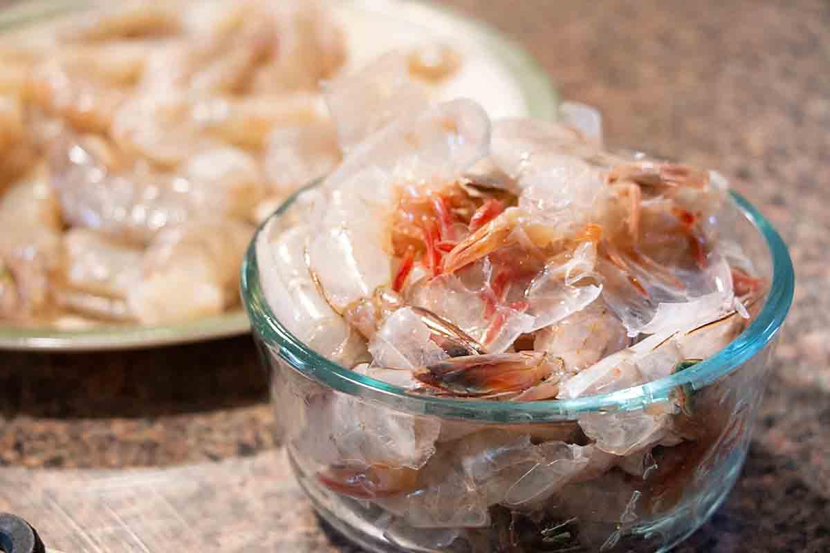 raw shrimp & shells