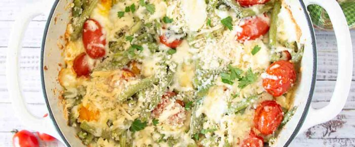 Cheesy Green Bean Casserole with Cherry Tomatoes