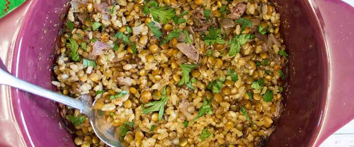 One Pot Cheesy Rice & Lentils