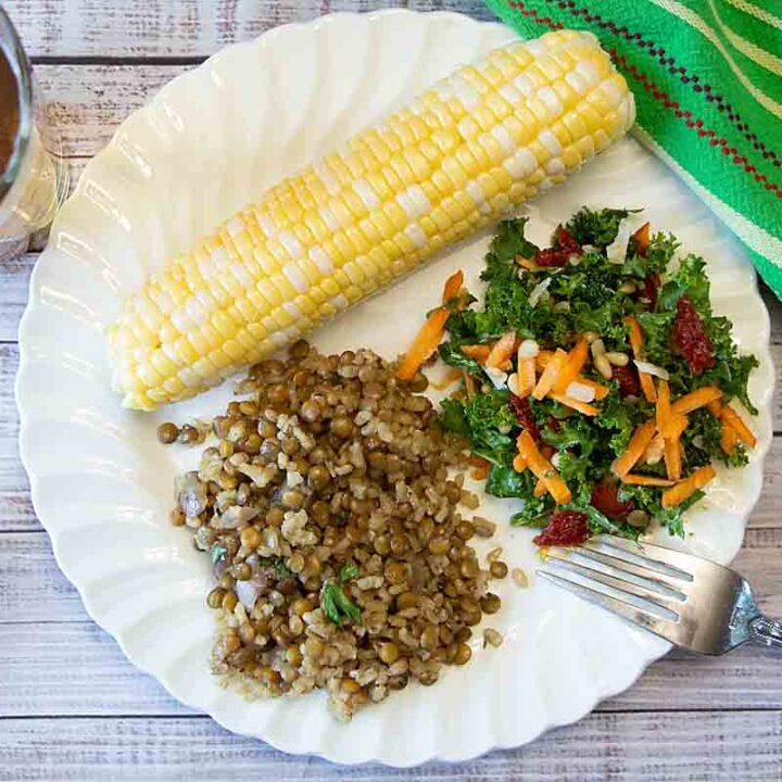 Cheesy Rice & Lentils