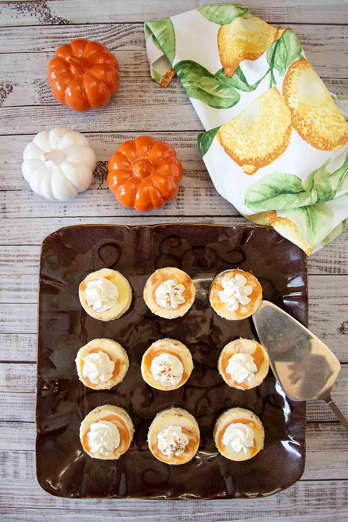 With golden swirls of pumpkin and cinnamon atop a graham cracker crust, mini pumpkin cheesecake is a fun fall dessert!