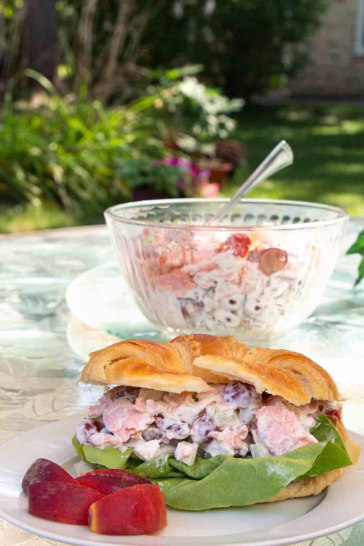 Salmon Salad with Grapes & Pecans updates a classic chicken salad. Serve as a sandwich or salad for lunch, brunch, shower or dinner.