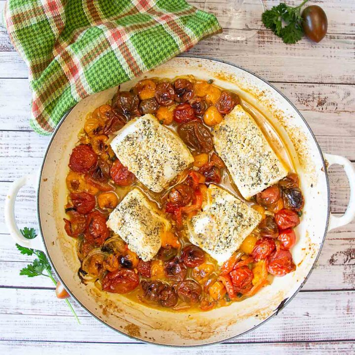One Pan Baked Halibut w/ Cherry Tomatoes
