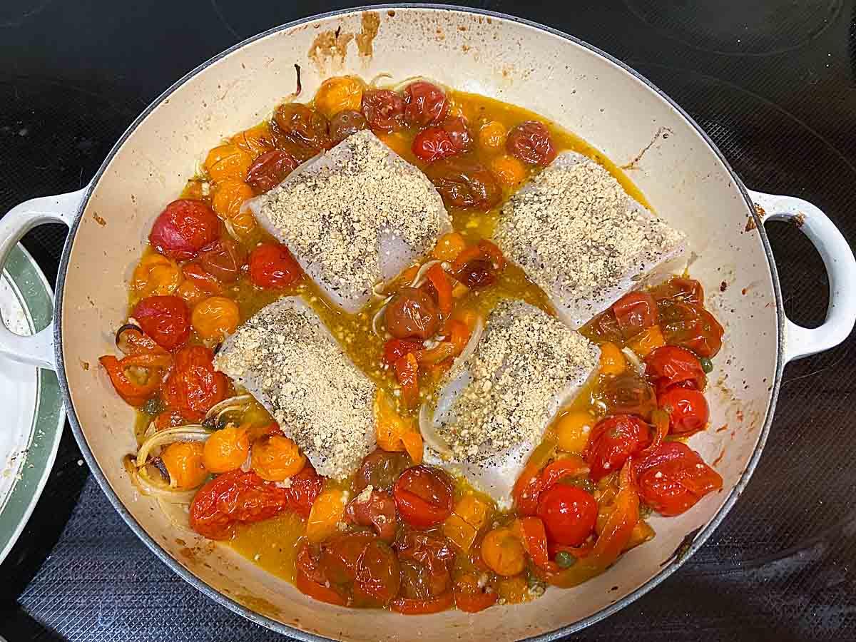 bake fish and veggies