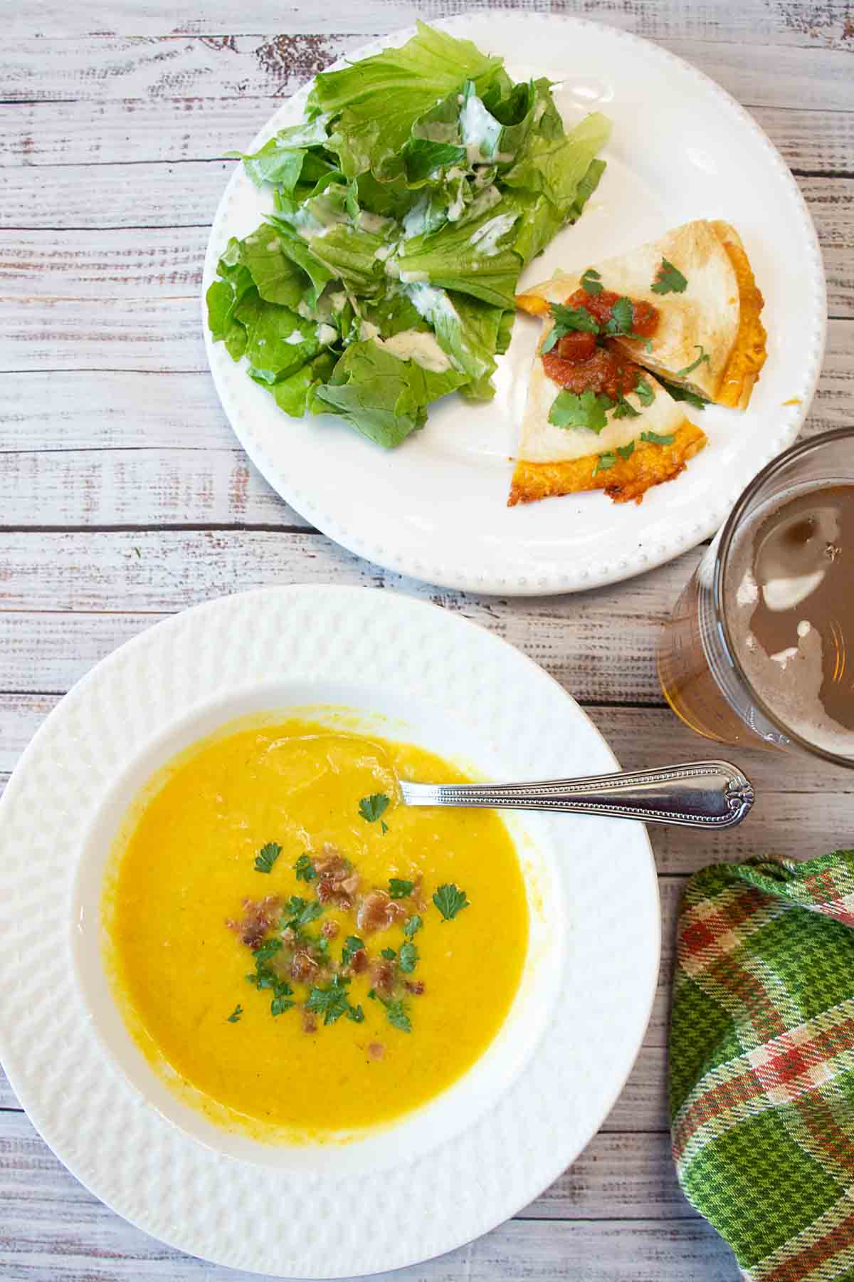 Warm and cheesy with a hint of smoke, this Butternut Beer Cheese Soup is like grown up comfort food! Plus a little extra nutrition!